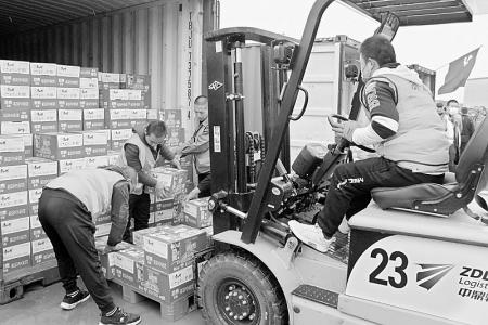 596吨救灾物资货运班列抵并